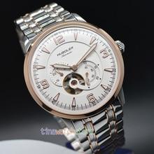 Huboler 45MM Gold stainless steel 82S7 Multi-function Men Tourbillon Mechanical Watch 24 Hour display