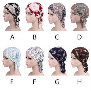 Image 5 - プリントソフトコットンの化学及血キャップエレガントなスカーフイスラム教徒ターバン大人女性ヘッドラップファッション弾性カバー帽子ギフト