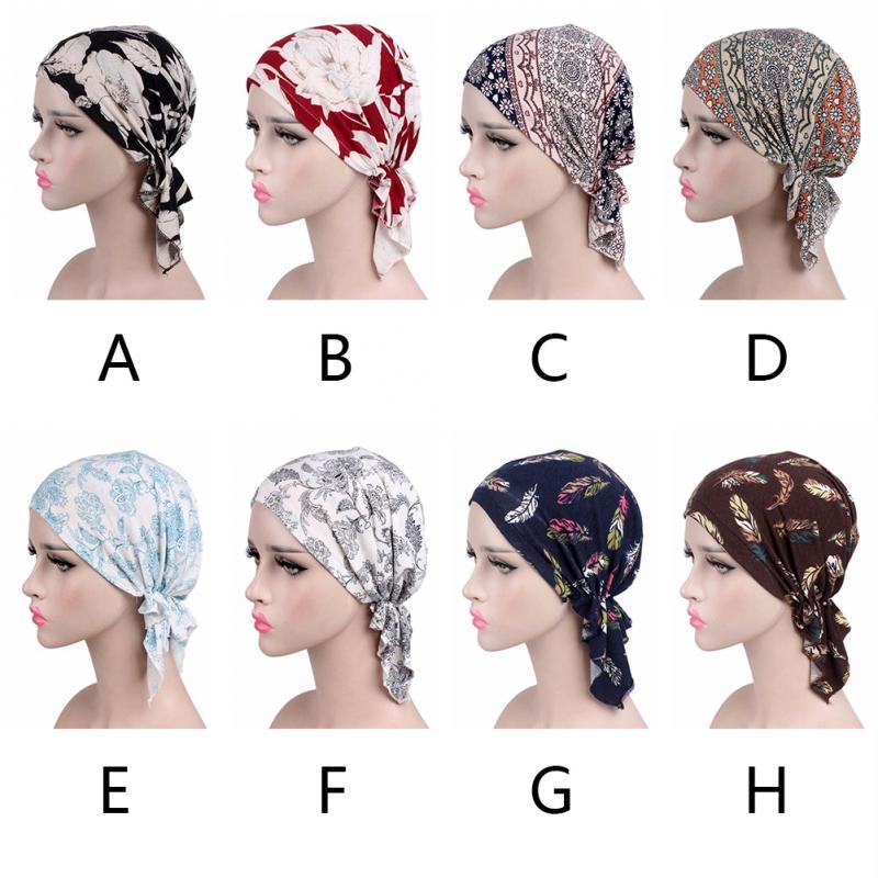 Image 5 - Printed Soft Cotton Chemo Cap Elegant Scarf Muslim Turban Adults  Women Head Wrap Fashion Elastic Cover Hat GiftWomens Hair Accessories