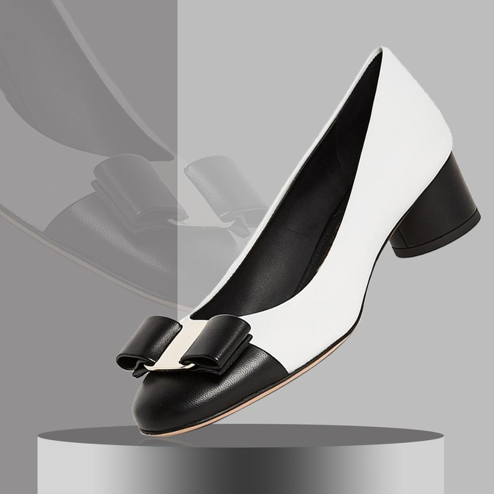 footwear presenting no sale tax White Block Heels Cap Pumps Bow Cute Womens Ladies Shoes For Woman Mature  Mid Heel Dress Party 2019 Autumn Brands Big Size 45 46