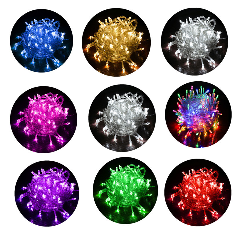 String <font><b>Light</b></font> <font><b>10M</b></font> <font><b>100LED</b></font> Christmas Party Decoration Christmas Decorations Garland 110V 220V Outdoor Waterproof 8 Colors New Year image