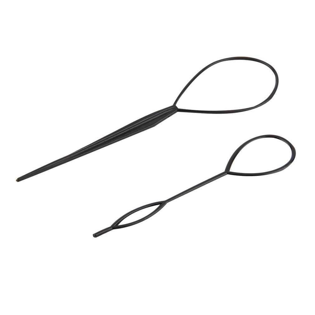 2 pçs rabo de cavalo criador de plástico loop ferramentas estilo preto pônei topsy cauda clipe cabelo trança criador ferramenta estilo salão de beleza ferramentas costura