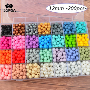 Image 1 - LOFCA Silicone Beads 12mm 200pcs Tie Dye Silicone Teething Beads Food Grade Silicone Baby Pacifier Necklace Pendant Making