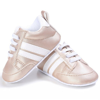 2020 Baby Shoes Newborn Boys Girls Two Striped First Walkers Kids Toddlers Lace Up PU Leather Soft Soles Sneakers 0-18 Months - 04, 13-18 Months