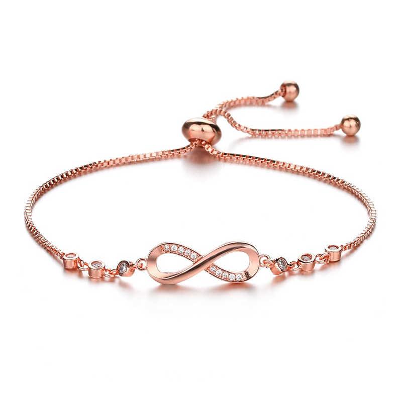 Fashion Geometric 8 Eight Bracelet For Women Female Twist Chain Crystal Zircon Bracelets Jewelry Romantic Women Valentine Gifts