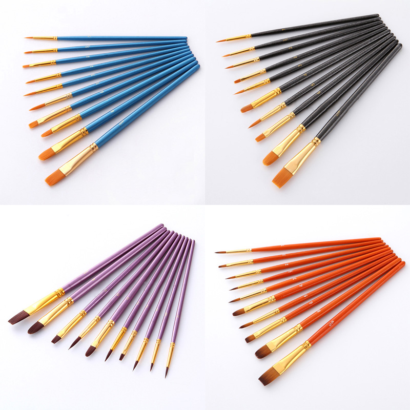 10Pcs/set Nylon Artist Paint Brush Professional Watercolor Acrylic  6