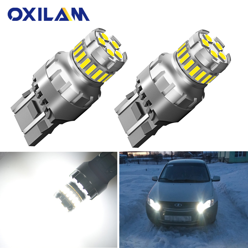 2Pcs T20 LED W21W W21/5W Led Bulb WY21W 7440 7443 Car Signal Lamp Brake Reverse Daytime Running Lights Auto Lamp For Lada 12V