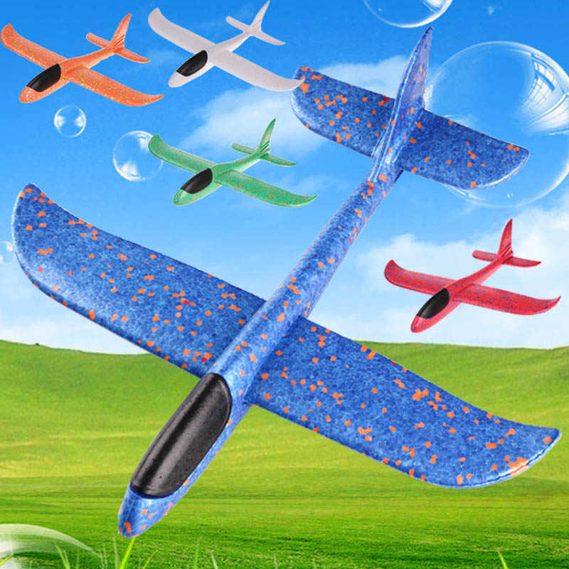 Quaslover 38*38cm 48*48cm flying model gliders Toy Planes Flying Model Gliders Foam Airplane Aircraft Toys For Children Games
