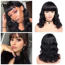 Волосы hanne бразильские Remy объемные волнистые человеческие волосы парики с челкой натуральный черный цвет 12-18 дюймов для черных женщин