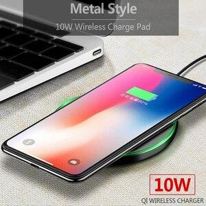 Image 2 - 10W Qi kablosuz şarj cihazı ince Metal tampon iPhone 11 Samsung S20 S10 S9 not 8 9 10 hızlı kablosuz şarj hızlı şarj adaptörü
