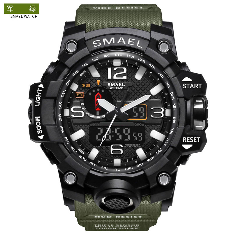 Smael Smill 1545 Double Show More Function Belt Calendar Alarm Clock Luminous Watch Outdoor Mountaineering Electronic Watch