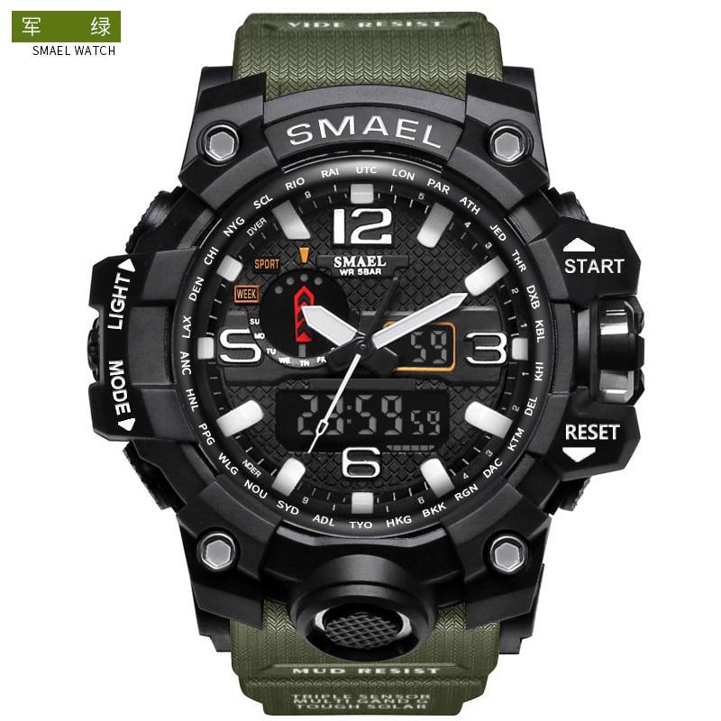 Smael Smill 1545 Double Show More Function Belt Calendar Alarm Clock Luminous Watch Outdoor Mountaineering Electronic Watch