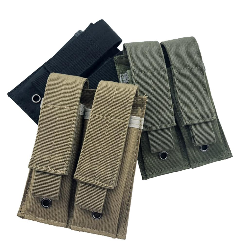 Tactical Dual Double Pistol Mag Magazine Pouch Close Holster 600D 9MM Molle Outdoor Combat Military Hunting Pouches Nylon Cheap