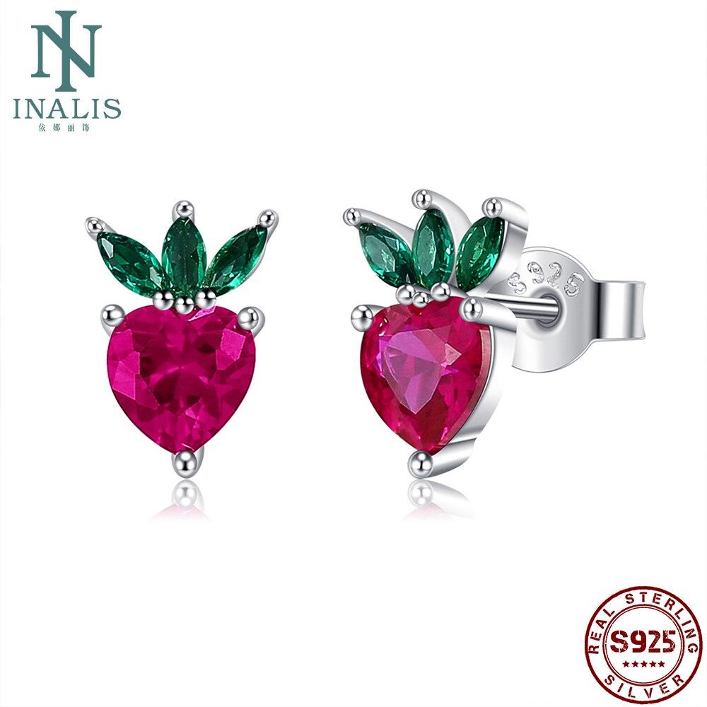 INALIS Fruits Shape Stud Earring For Women 925 Sterling Silver Lovely Little Strawberry Zircon Earring Wife Gifts Fine Jewelry