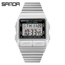 SANDA-Reloj de pulsera deportivo militar para hombre, electrónico, Digital, con retroiluminación, LED, resistente al agua hasta 50M, 2007