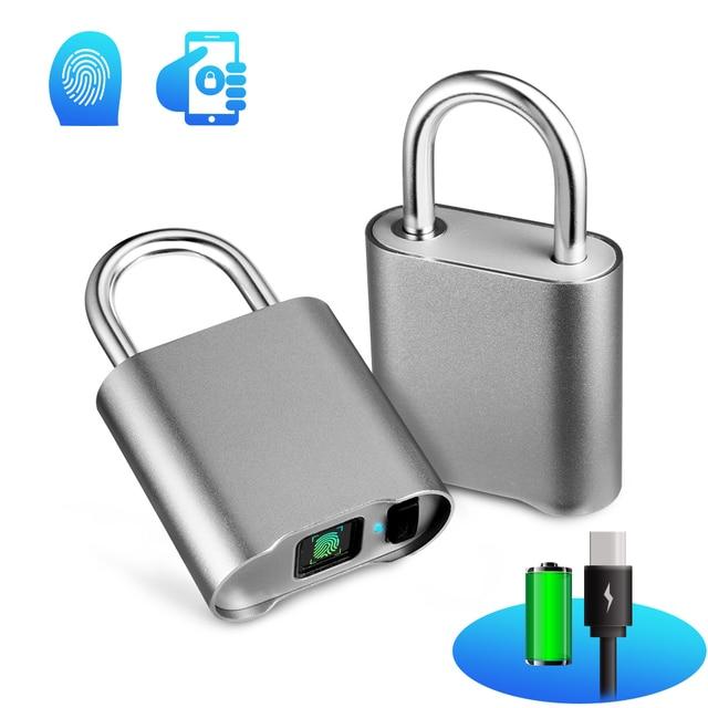 Bloqueo inteligente de huellas dactilares Bluetooth IP65 Cerradura resistente al agua antirrobo seguridad candado de huellas dactilares Cerradura de la puerta del equipaje