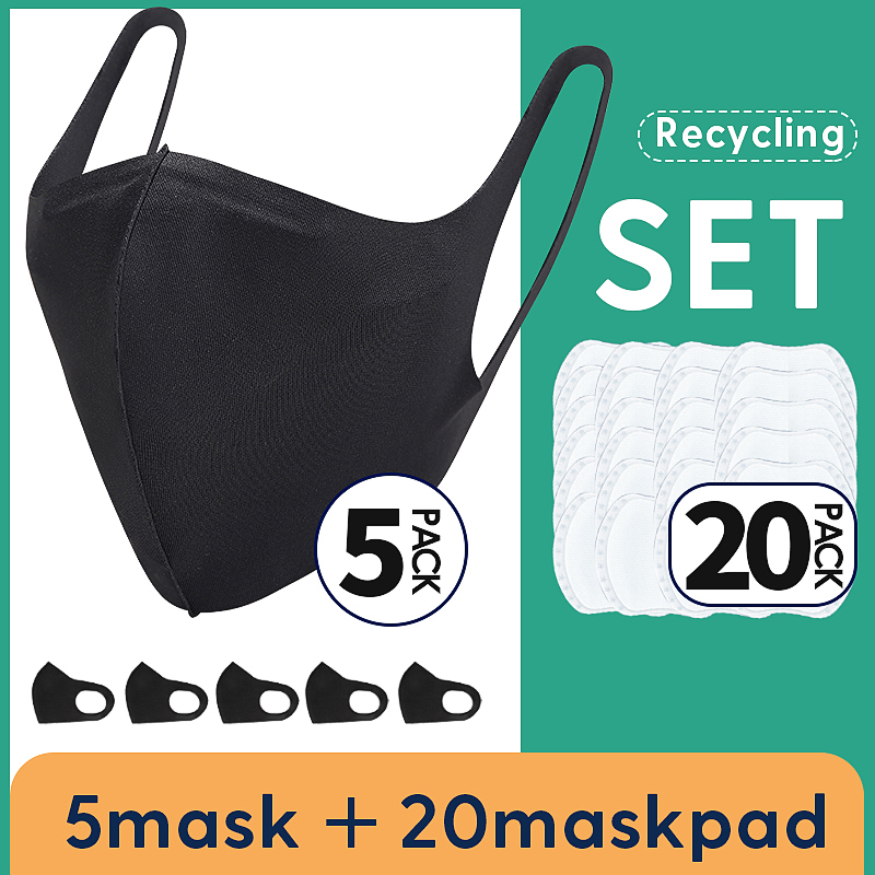 5 Mask With 20 Replaceable Filters Anti Pollution Mask Breathable Cotton Dust-proof Mouth Mask Replaceable Filter