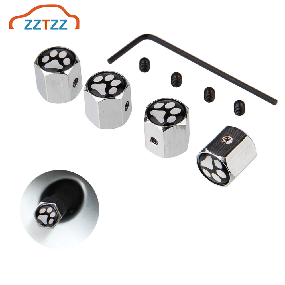 4Pcs/Set Dog Footprint Style Bike Motorcycle Car Tire Valve Stem Caps For Car/Motorcycle