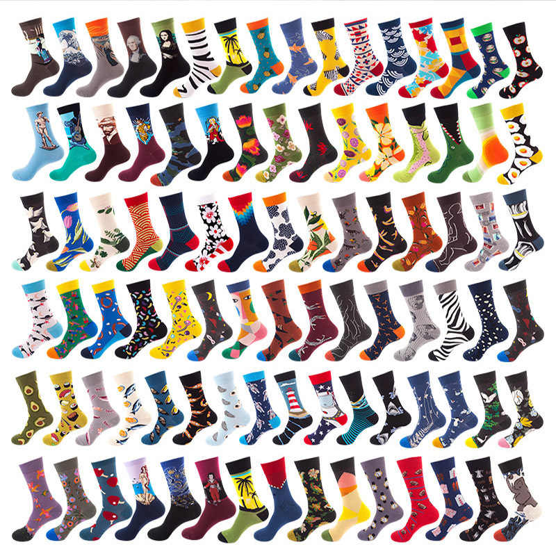 1 Pair Men Socks Combed Cotton Colorful Funny Socks New 2019 Autumn Winter Happy Socks For Business Causal Dress Wedding Gift