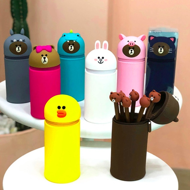 Lovely Cute Silicone Pencil Bag Kawaii Stationery Cartoon Children Pen Case Pencil Holder Brown Bear Lovely Student Kid Gift