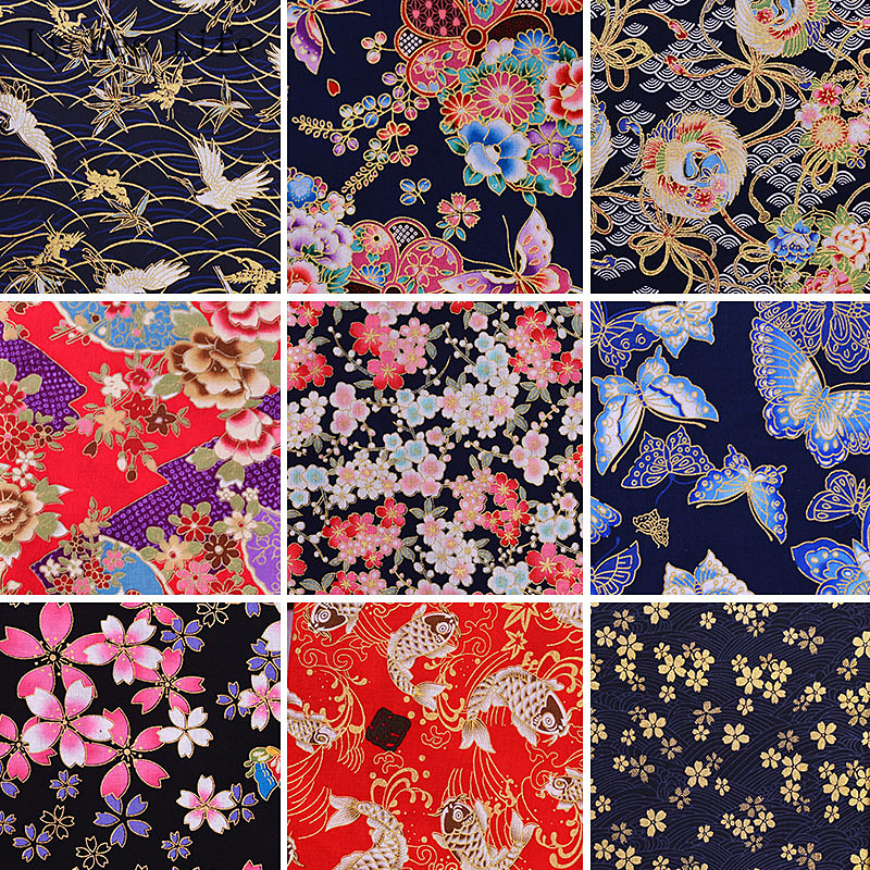 BTY CHERRY BLOSSOM TREES Red//Gold Asian Japanese Quilt Fabric