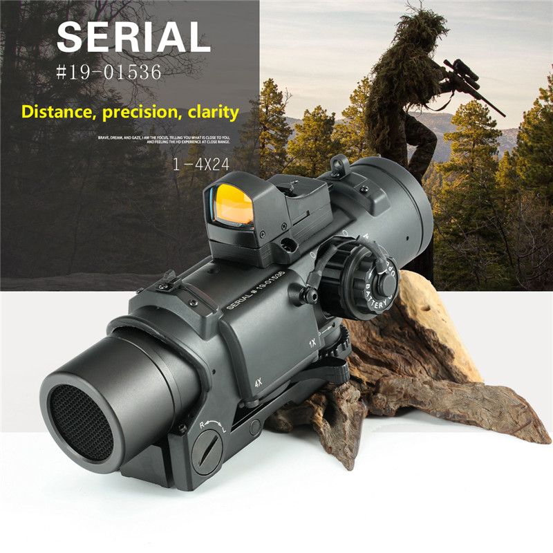 Hunting OPTICS Tactical Rifle Scope Tactical Rifle Scope 1x-4x Fixed Dual Purpose Scope Red Illuminated Red Dot Sight