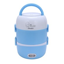 2L Portable Lunch Box Mini Electric Rice Cooker Steamer Meal Thermal Heating Automatic Food Container Warmer Cooking Pot(US Plug(China)