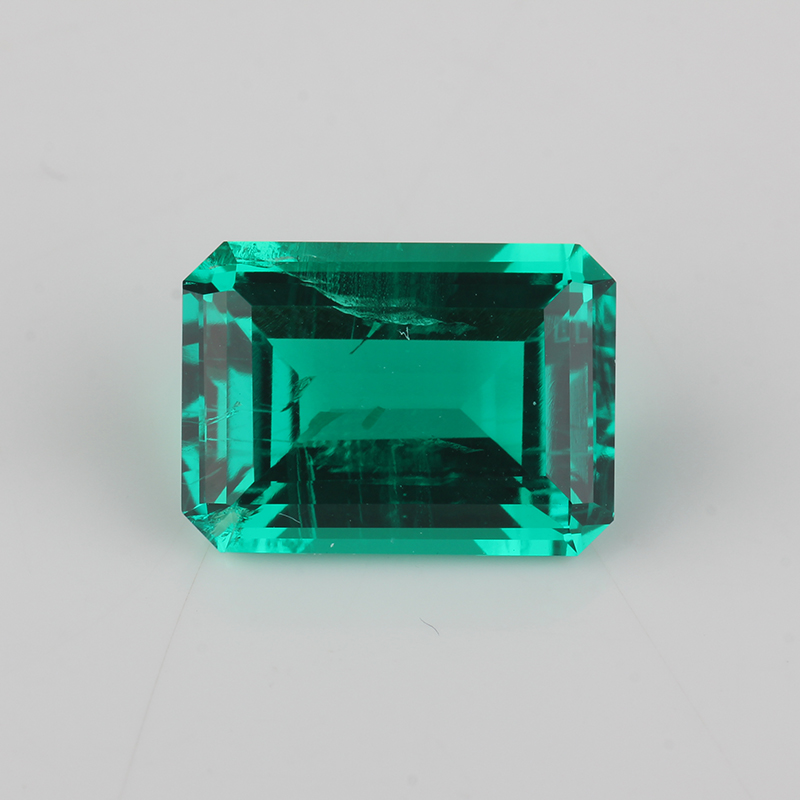 High Quality lab Emerald Octagon Emerald cut 7x5mm 15x11mm Hydrothermal Emerald stone For JewelryBeads