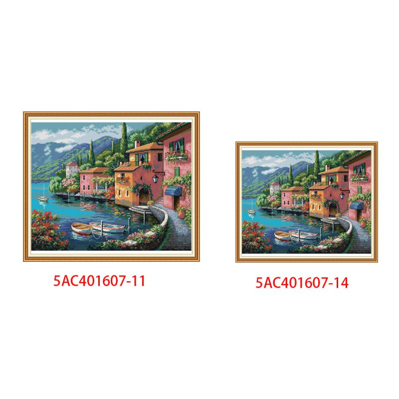 Waterside House DIY Handmade Needlework Counted 11CT 14CT Printed Cross Stitch Embroidery Kit Set Home Decoration