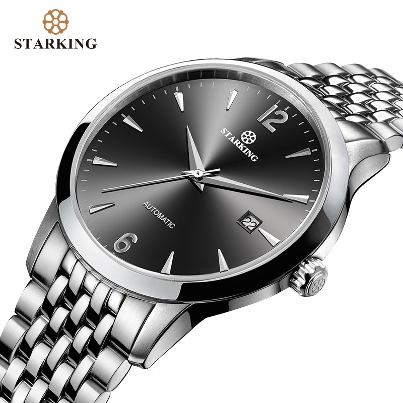 STARKING Men Mechanical Watch Dress Fashion 28800 Beats Automatic Self-wind WristWatch Stainless Steel Male Relogio 5ATM AM0194