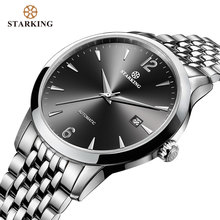 STARKING Men Mechanical Watch Dress Fashion 28800 Beats Automatic Self wind WristWatch Stainless Steel Male Relogio 5ATM AM0194