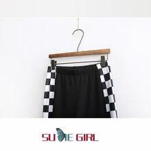 Sudie/весенние цветные обтягивающие брюки в клетку для девочек