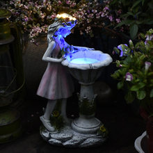 Flower Fairy Statue Solar Light Ornament Outdoor Courtyard Garden Decoration Resin Angel Figure Sculpture Micro Landscape Decor