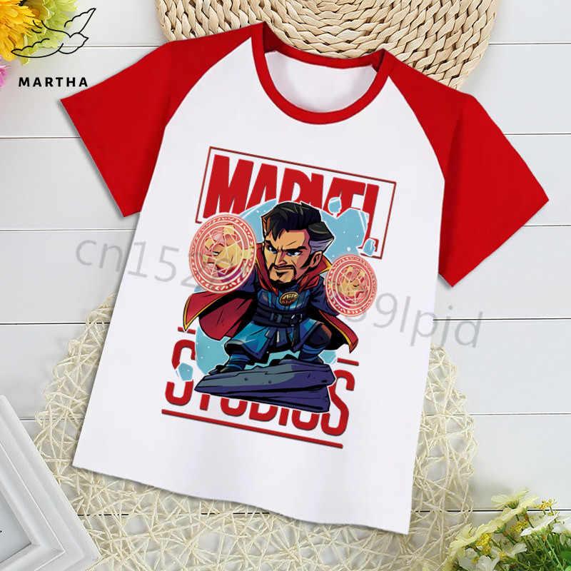 Koszulka dziecięca Marvel Avengers Iron Man/kapitan ameryka/Spiderman drukuj koszulka dziecięca Funny Cartoon Girl Top chłopcy Tshirt Marvel