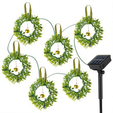 6 Wreaths Solar Christmas Lights Outdoor Garden Lights with Jingle Bells 8 Modes Waterproof Fairy decoration for Party,Holiday