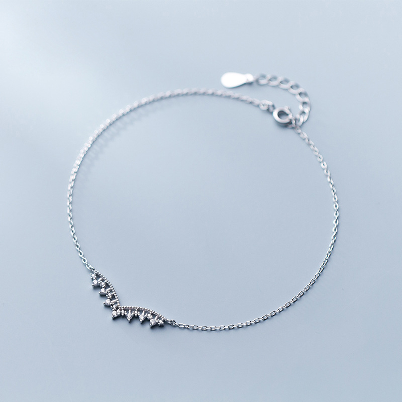 Bohemian Crown Anklet 925 Silver Jewelry Minimalism Ankle bracelet Cheville Vintage Foot jewelry Charms Leg Bracelet Anklets