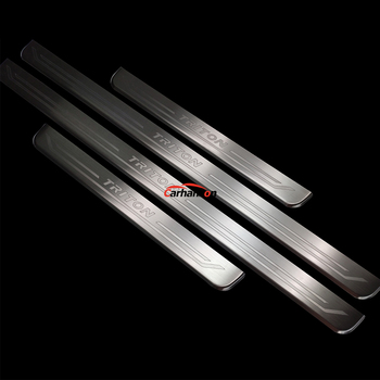 For Mitsubishi TRITON L200 stainless steel door sill Strip Trim Cover Styling Car Accessories Auto scuff plate 2016-2019 4pcs for car styling chevrolet trax accessories door sill protectior cover auto sticker stainless steel scuff plate 2014 2018 2020