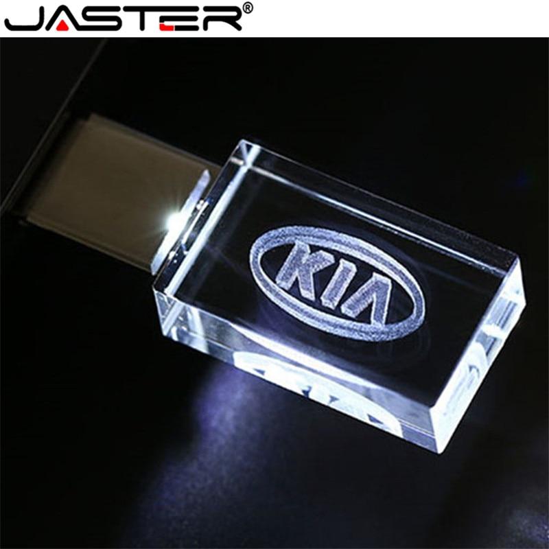 JASTER HOT KIA Kristal + Metalen USB Flash Drive Pendrive 4GB 8GB 16GB 32GB 64GB 128GB Externe Opslag Memory Stick Pendrive