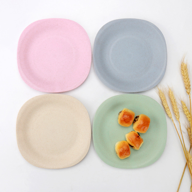 Baby Feeding Wheat Straw Plate Small Solid Color Kids Snack Dinnerware Children Environmental Dishes Healthy Tableware MBG0514