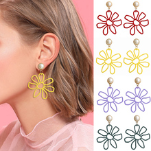 HOCOLE Fashion Colorful Flower Earrings For Women Geometric Pearl Resin Pendant Drop Earring Wedding Party Jewelry 2019 Brincos