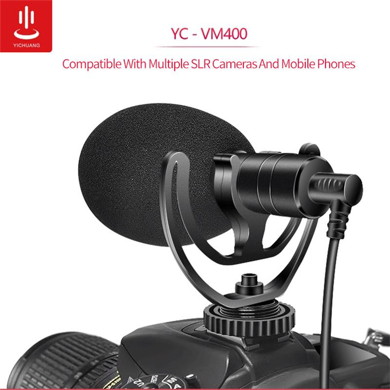 YC-VM400 Cardioid Shotgun Microphone 3.5mm Headphone TRS TRRS Output for Smartphone Tablets DSLR Consumer Camcorder PC