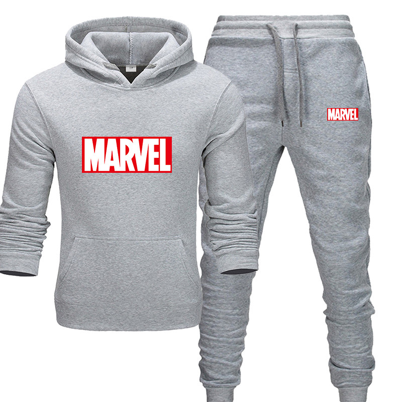 New 2018 MARVEL Print Tracksuit Men Thermal Men Sportswear Sets Cotton Hoodie+Pants Sporting Suit Casual Sweatshirts Sport Suit