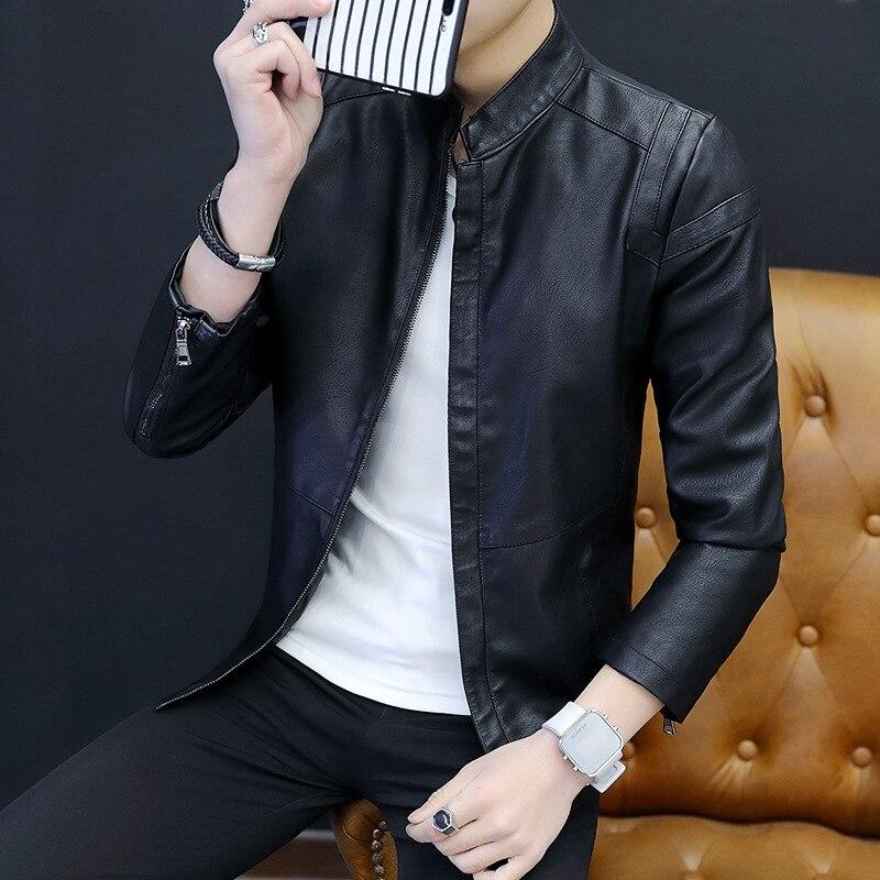Men PU Leather Jacket Spring And Autumn Korean-style Slim Fit Versitile Fashion Motorcycle Jacket Men's Fashion