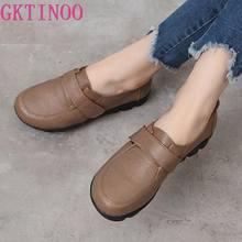 GKTINOO-zapatos planos de piel auténtica hechos a mano para mujer, mocasines suaves con gancho y bucle, para primavera y otoño, 2021