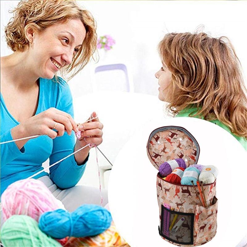 Image 5 - 14 Styles Knitting Bag Yarn Organizer Bag For Wool Crochet Hooks Knitting Needles Sewing Set DIY Yarn Balls Storage Bag-in DIY Knitting from Home & Garden