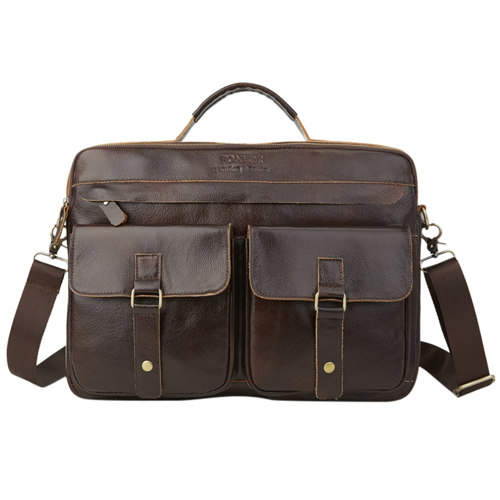 Business Bag Men Leather Vintage Large Capacity Men Bag Leather Tote Multilayer Zipper Men Briefcase Shoulder Messenger Bag K918