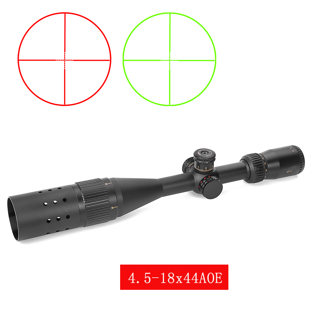 VT-1 4.5-18X44 AOE Hunting Optics Riflescopes Red Green Illuminated Wire Reticle Lock Reset Tratical Sights With Sunshade