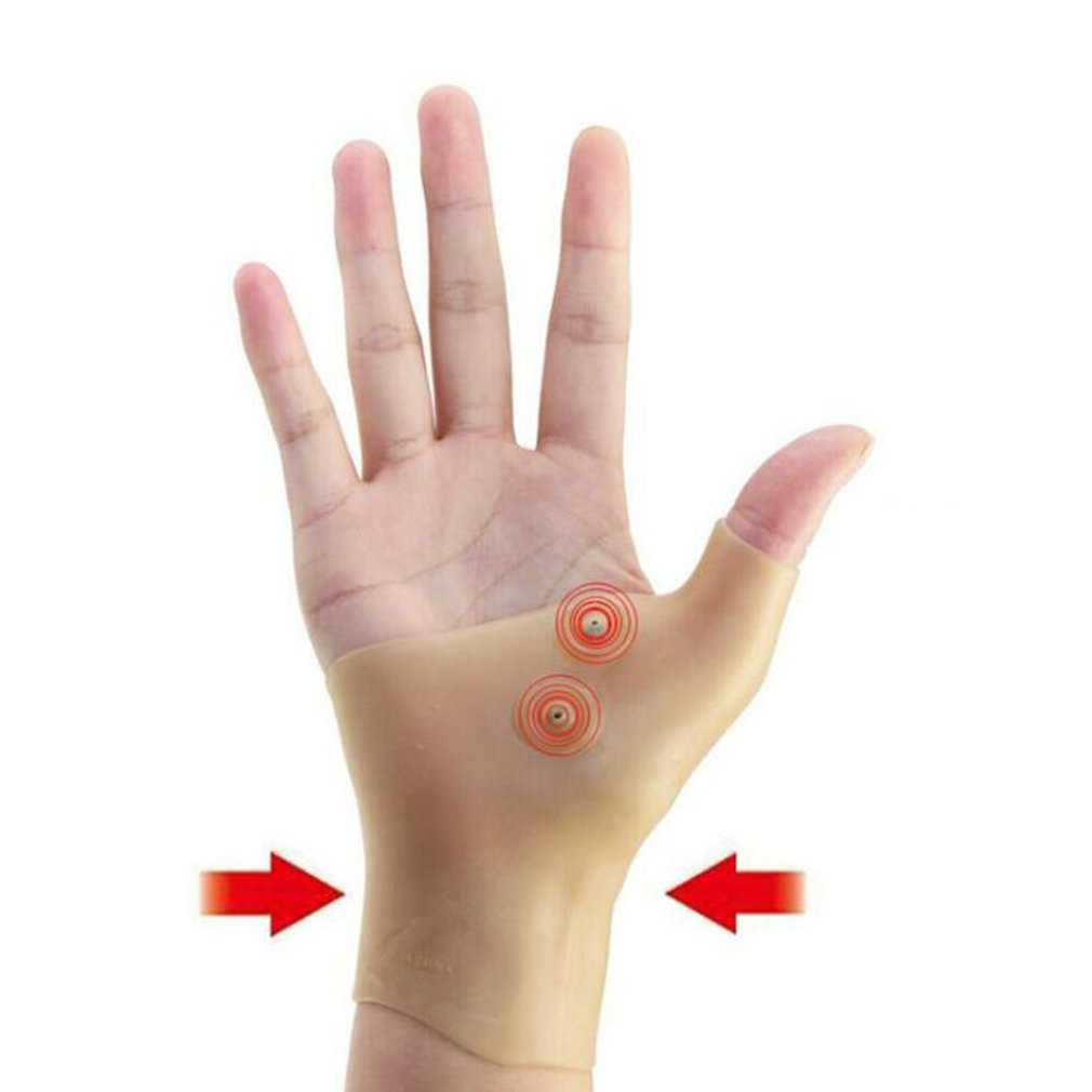 Magnetic Therapy Wrist Hand Thumb Support Gloves Silicone Gel Arthritis Pressure Corrector Massage P
