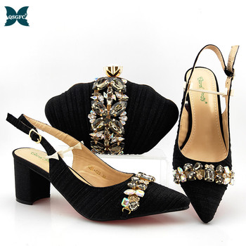 2020 New Arrival Ladies Italian design Shoes and Bag Set Decorated with Rhinestone Shoes and Bag Set in Black Color