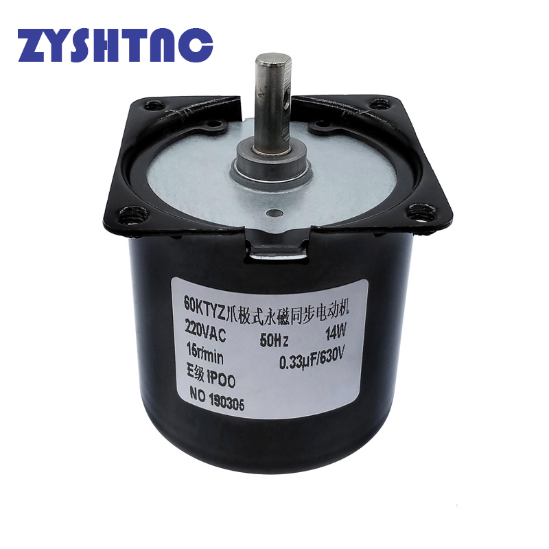 <font><b>220V</b></font> AC 14W Micro <font><b>Gear</b></font> <font><b>Motor</b></font> 60KTYZ 50Hz Permanent Magnet Synchronous <font><b>Gear</b></font> <font><b>Motor</b></font> Low Speed 2.5 5 10 15 20 30 50 60 80 110 rpm image